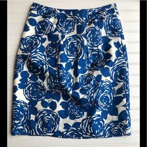 Boden Blue/White Floral Pleated Silk Skirt US 6